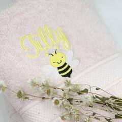 Embroidered pink towel set   Personalised gift idea   Practical keepsake
