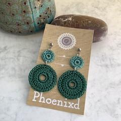 Green Round Crochet Earrings