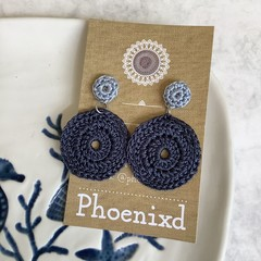 Round Blue Earrings