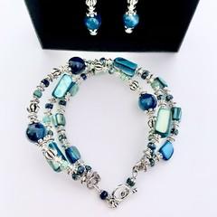 Blue Apatite Silver Plated Bracelet Earring Jewellery Set OOAK Unique Jewellery