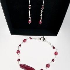 Ruby Spinel Silver Plated Bracelet Earring Jewellery Set OOAK Unique Handmade