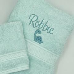 Embroidered aqua towel set   Personalised gift idea   Practical keepsake
