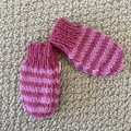 Pink stripe mittens Size 3-6 months  - hand knitted