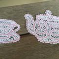 Battenburg Lace Tea Cup and Tea Pot set
