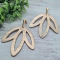 Boho, Lotus Flower, Genuine Leather Stud Dangle Earrings, Rose Gold