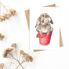 Greeting Card 'Bunny in a Bucket'