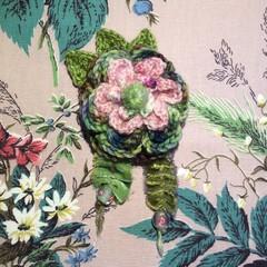 Multi layered pink green rose flower brooch with velvet ribbon