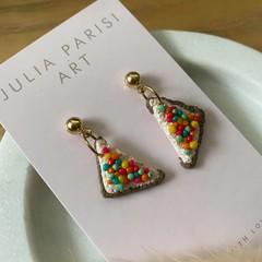 """Fairy Bread Slices"" Handmade Stud Drop Earrings"