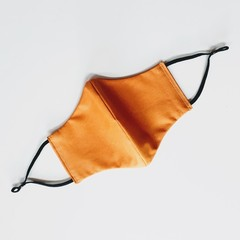 Butterscotch Colour, Washable 3-Layer Fabric Cotton Face Mask, with earloops