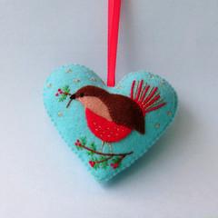 Embroidered Felt Heart Ornament, Christmas Red Robin, Decoration, Keepsake Gift