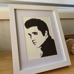 Iconic ELVIS PRESLEY Paint Pen Silhouette Framed Artwork