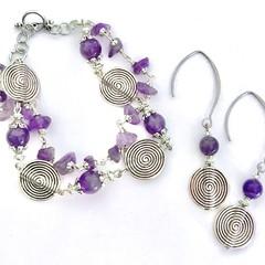 Amethyst Gemstone Silver Plated Bracelet Earring Set OOAK Unique Jewellery