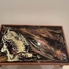 Black and Gold. Folding  acacia wood resin coated tray table  45 cm x 30 cm