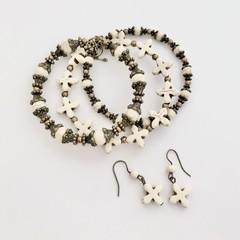 Howlite Semi Precious Gemstone Bracelet Earring Set OOAK Unique Jewellery