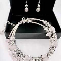 Rose Quartz Silver Plated Bead Bracelet Earring Set OOAK Unique Jewellery
