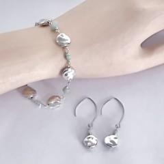 Aquamarine Silver Plated Bracelet Earring Jewellery Set OOAK Unique Handmade