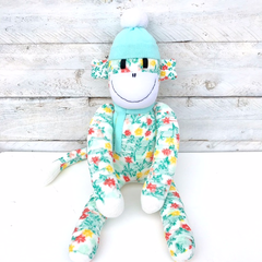 'Fleur' the Sock Monkey - floral and mint green - *READY TO POST*