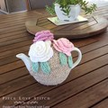 Pink & White Rose TEA COSY, fits most 4-6 cup teapots,  ready to ship