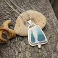 OOAK Bezel Set Silver and Sea Pottery Pendant - Little Belle