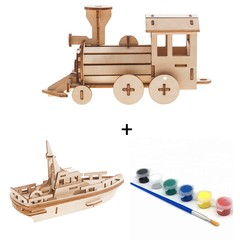 Build and Paint your own Train and Boat wood model toy train-plywood DIY kit