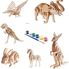 Build and Paint your own wood Model kit set 6 different animals in bundle plus 1