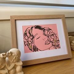 """A Sleeping Head of Flowers"" Original Framed Line Drawing Artwork"