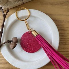 PINK Tassel and Stamped Polymer Clay Keychain
