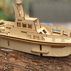 Kids wood model toy Boat-plywood DIY kit with paint set included