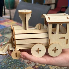 Build and Paint your own locomotive train Kids wood model toy train-plywood DIY