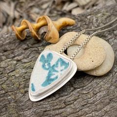 OOAK Bezel Set Silver and Sea Pottery Pendant - Petal