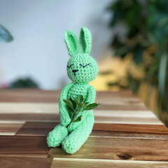 Tiny green sleepy bunny