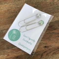 Giant Paperclip Bookmarks - White & Aqua