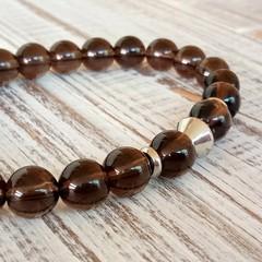 Natural Smokey Quartz  & stainless steel bracelet,  8mm stone stretch bracelet