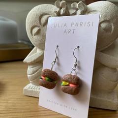 """Italian Panino"" with Deli Fillings, Handmade Clay Dangle Earrings"