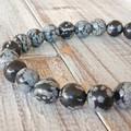 Natural Snowflake Obsidian & stainless steel bracelet,  8mm stretch bracelet