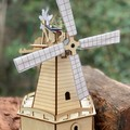 Model kit plywood puzzle Solar powered Windmill Wood - Build and Paint your own