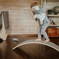 LARGE balance board with Merino Wool FELT, Curvy board, Wooden curvy board, Acti