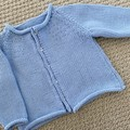CLEARANCE 40% - Blue Cardigan Size 0-3 months Hand knitted in extra fine merino
