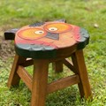 Hand Carved Children's Chair Stool Wooden OWL Theme