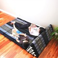 XL Thai Triangle Pillow Daybed THREE FOLDS Blue Elephant