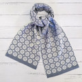 Handwoven Scarf Wrap 100% Wool Handmade Heirloom floral grey white ivory