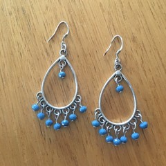 Boho denim blue teardrop earrings