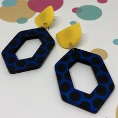 Blue / black / yellow earrings