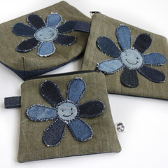 Handmade Pouch with Upcycled Denim Flower