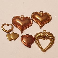 Mixed Hearts Vintage Copper and Brass