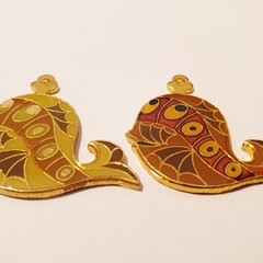 2 Vintage Enamel Whale or Fish Charms