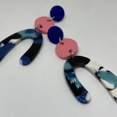 Blue / pink / white earrings