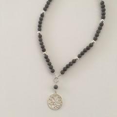 Grey boho Jade beaded necklace on suede