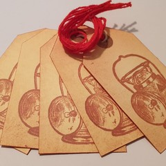 5 Vintage Style Sepia Lamp Light Gift Tags