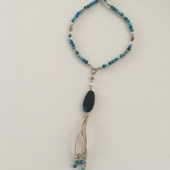 Blue agate beaded boho tassel necklace